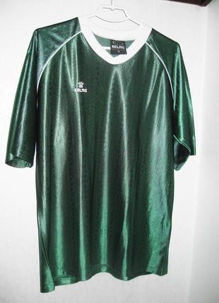 Футболка спортивная испанского бренда kelme зелёная как шёлк для футбола