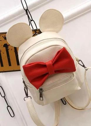Детский стильный новый кожаный недорогой модный рюкзак сумка с бантиком