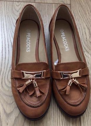 Женские лоферы/коричневые туфли
