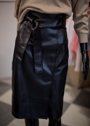 Офигенная кожаная юбка карандаш с поясом от wearme