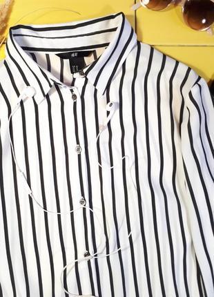 Стильная шифоновая рубашка в полоску h&m