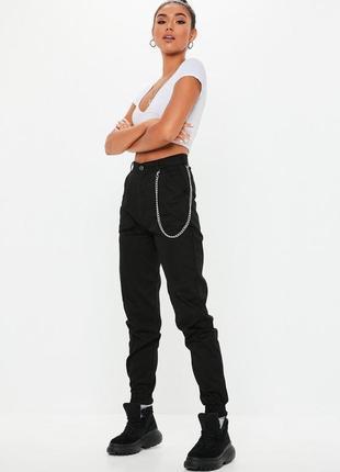 👑♥️final sale 2019 ♥️👑  стильные черные брюки карго с карманами и цепочкой