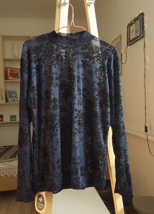 Новая женская кофта с кружевом блузка гольф свитер рубашка синяя кардиган на лето