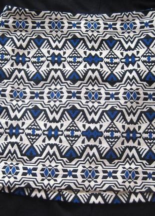 Юбка h&m мини разноцветная орнамент рисунок узор фактурная белая синяя короткая