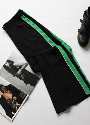 Шикарные широкие черные брюки палаццо с лампасами 14