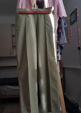 Женские брюки прямые mom джинсы хаки штаны на осень свободные