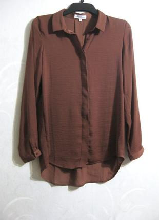 Рубашка блузка moss copenhagen коричневая ткань как шёлк длинный рукав