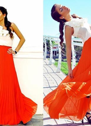 ⛔✅ юбка в пол яркий кислотный оранжевый цвет шифон плисе на подкладке