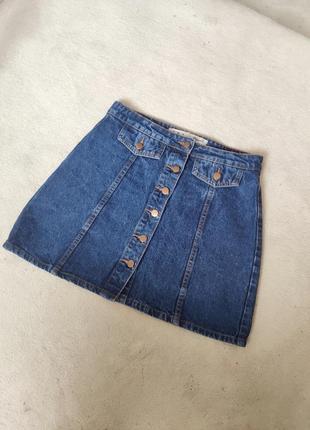 Юбка джинсовая мини короткая трапеция