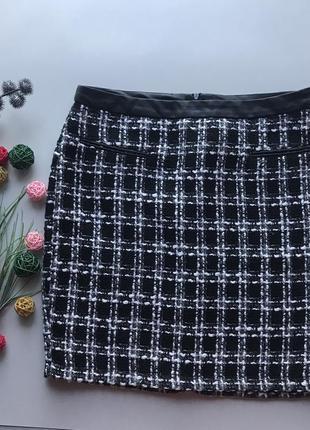 Крутая чёрно белая твидовая юбка тёплая юбка классика спідниця