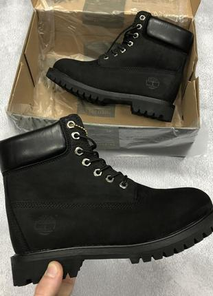 Чудесные женские зимние ботинки/сапоги timberland black на тёплом меху чёрные 😍
