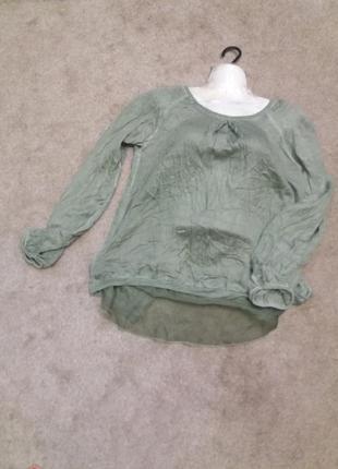 Зеленая блузка блузон варенка с прозрачной спинкой..вискоза