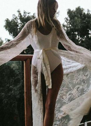 29 женский кружевной халат / пляжное парео / прозрачная кружевная накидка /