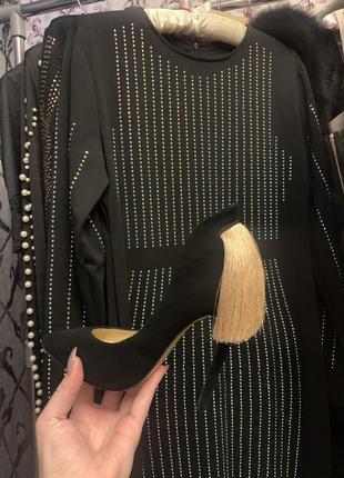 Чёрные туфли из натуральной замши sexy fairy с бахромой, с кисточкой