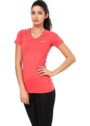 Очень насыщенная яркая футболка для спортивных тренеровок цвет манго nike pro ss v neck