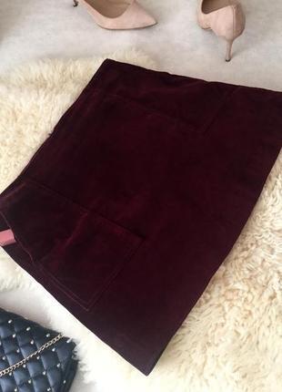 Крутая велюровая бархатная юбка с кармашками, цвет марсала р.12/40👠
