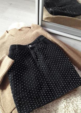 Джинсовая юбка со стразами topshop