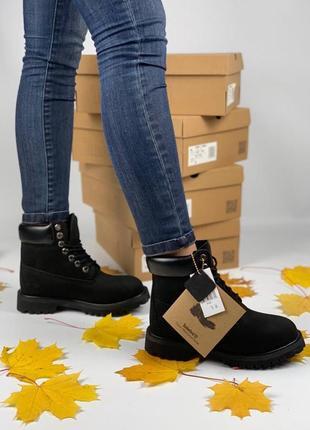 Чудесные женские зимние ботинки/сапоги timberland black термо чёрные😍