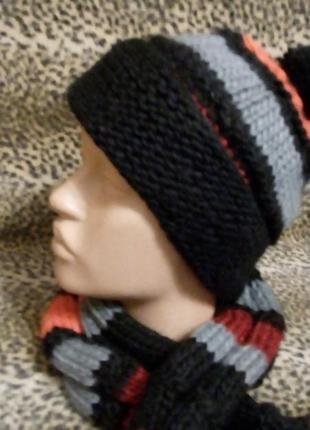 Детский  комплект  шапка  и шарф  sela