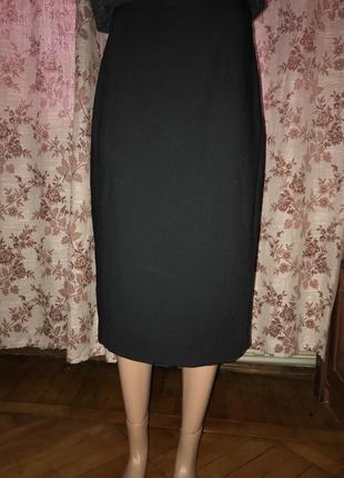 Элегантная юбка -миди /оригинальный разрез сзади /высокая посадка