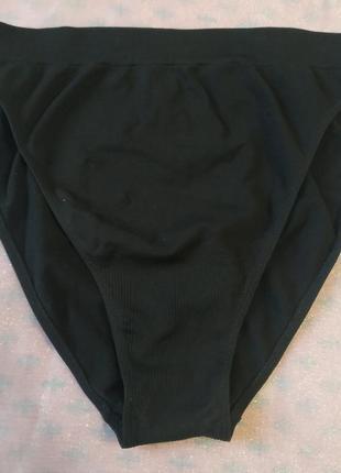 Черные высокие эластичные спортивные трусики бикини утяжка