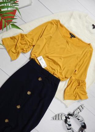Трендовый горчичный топ блуза с воланами на рукавах