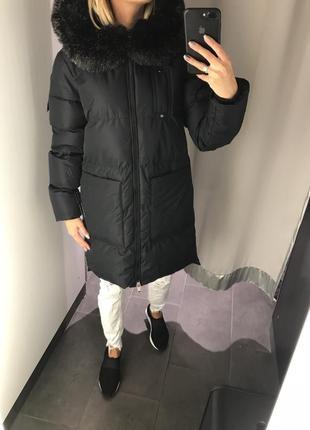 Синяя удлинённая куртка курточка на синтепоне пальто amisu