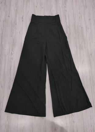 Теплые темно зеленые брюки на высокую талию