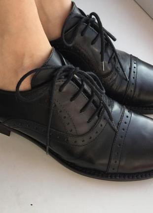 Кожаные туфли/ броги размер 37-38, bata, оксфорды
