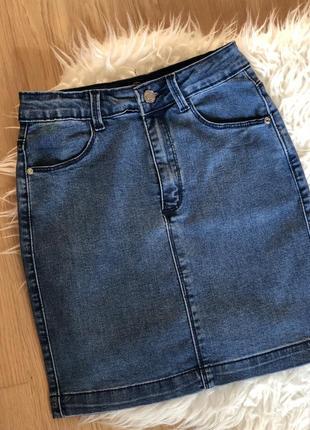 Джинсовая юбка на высокой посадке missguided