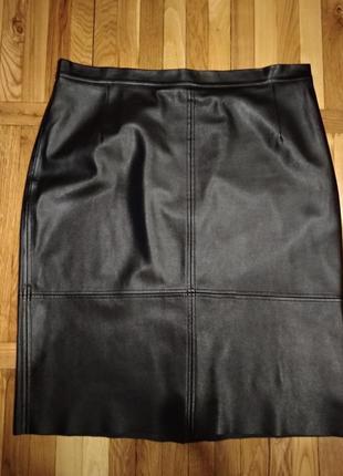 Премиум качество юбка миди кожа большой размер