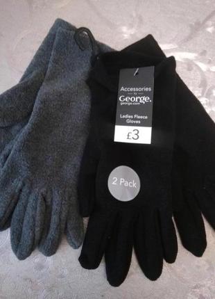 Флисовые перчатки серые