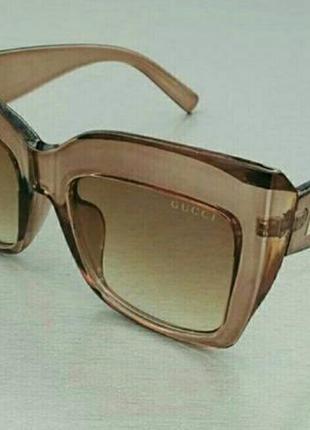 Gucci очки женские солнцезащитные в прозрачной бежевой оправе