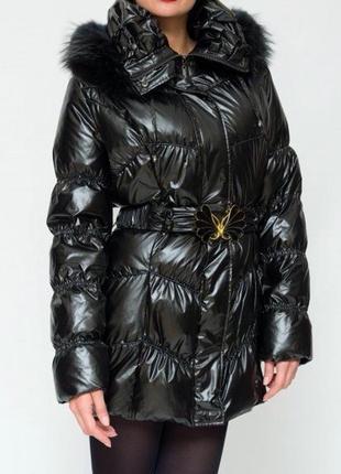 Черное зимнее пальто на пуху,теплый пуховик,стеганое дутое пуховое пальто