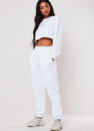 👑♥️final sale 2019 ♥️👑  белые оверсайз джогеры на флисе с карманами и шнурком