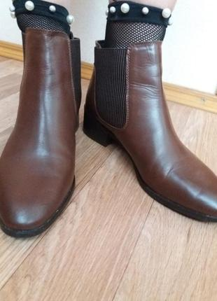 Кожаные женские ботинки, осенние сапоги