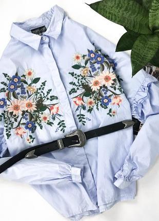 Трендовая хлопковая рубашка с вышивкой от topshop