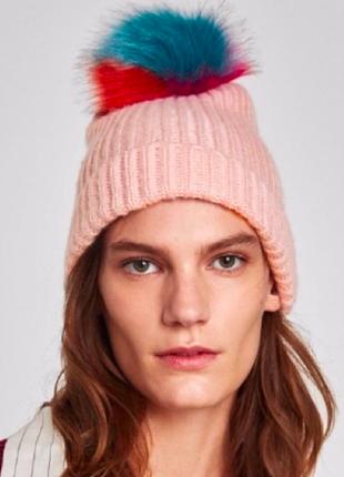 Zara шапка с помпоном
