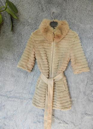 ✅ жилетка эко кожа с натуральным мехом шиншилловый кролик с поясом опушка воротника песец