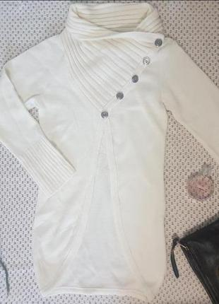 Стильный белый / молочный свитер-фрак