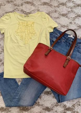 Фирменная большая сумка gabor,красная сумка,яркая сумочка