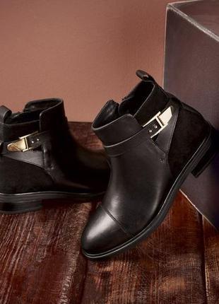 Демисезонные кожаные ботинки esmara 26cм