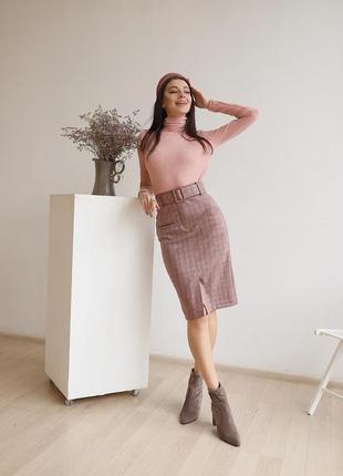Новая женская юбка карандаш из замша в клетку с поясом и разрезом! бордо