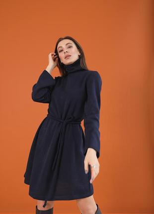 Женское платье свитер под пояс из теплой вязки!темно-синее