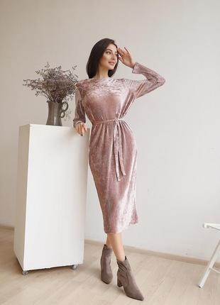 Невероятно красивое женское платье велюр плиссировка под пояс миди пыльная роза