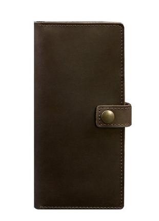 Кошелек на кнопке кожаный темно коричневый
