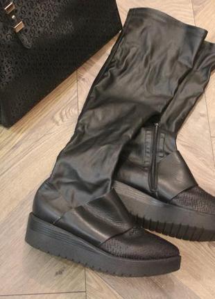 Кожаные высокие сапоги чулки ботфорты vera pelle размер 37