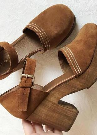 Стильные замшевые терракотовые туфли/босоножки next