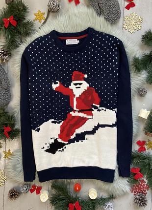 Новогодний рождественский свитер джемпер санта клаус на сноуборде №12