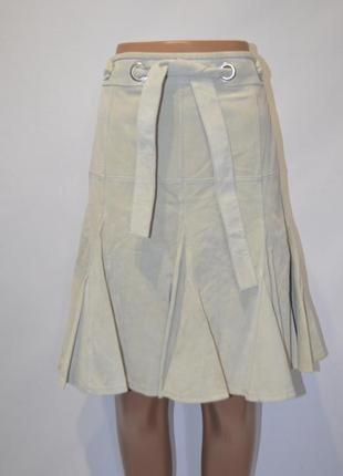 Шикарная кожаная юбка, натуральная кожа, замша р.8 bandolera